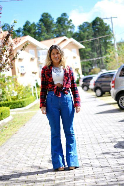 look-para-rodeio-camisa-xadrez-e-calca-jeans