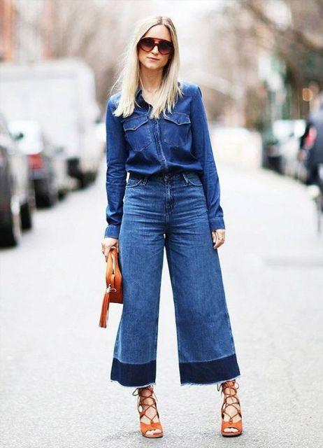 calça e camisa jeans