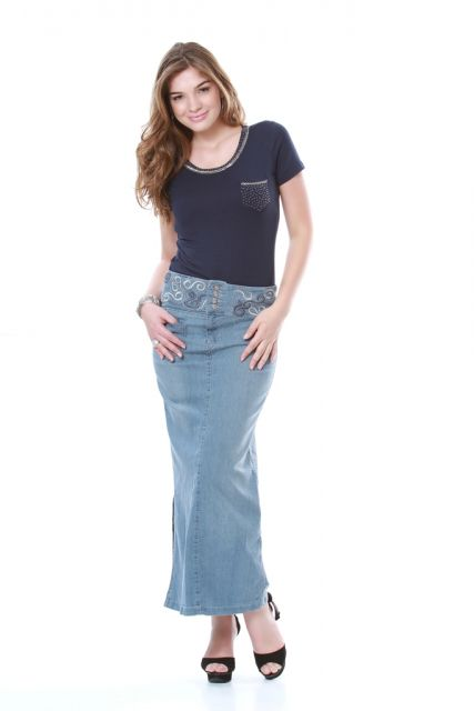 saia jeans claro