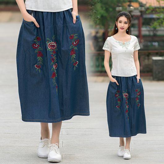 saia jeans com bolso