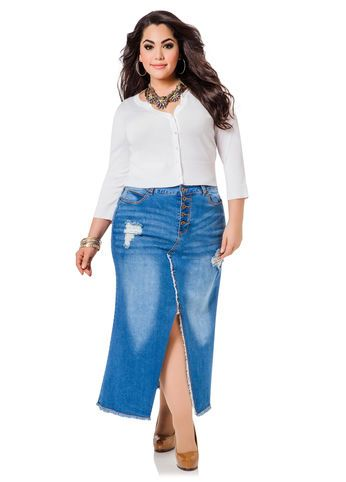 saia com fenda plus size