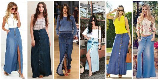 modelos de saias com botões