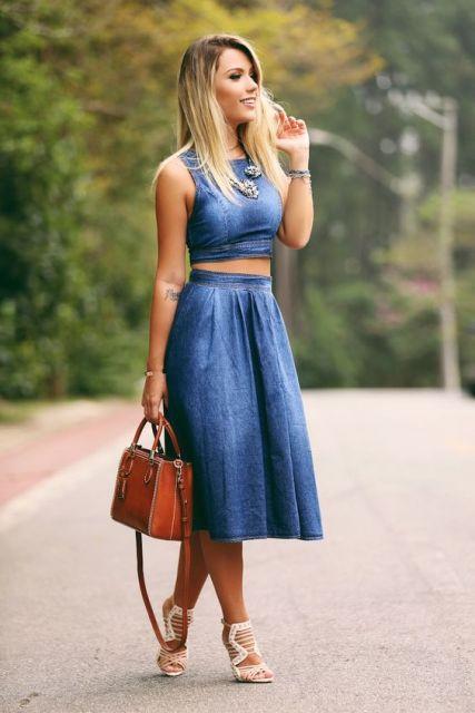 Suficiente Saia Jeans Midi: Como usar? Modelos e + de 60 looks! NC17