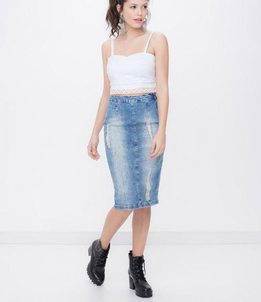 Excepcional Saia Jeans Midi: Como usar? Modelos e + de 60 looks! XX67