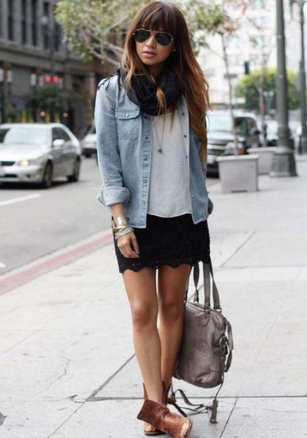 look com jaqueta jeans e bota