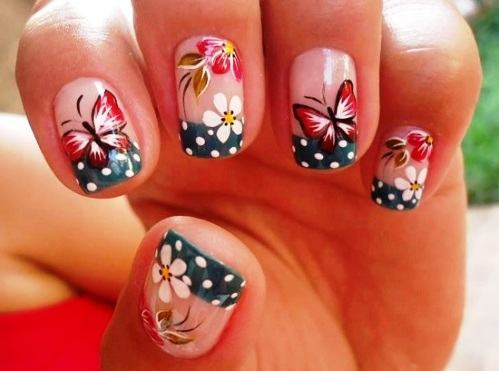 unhas decoradas borboletas