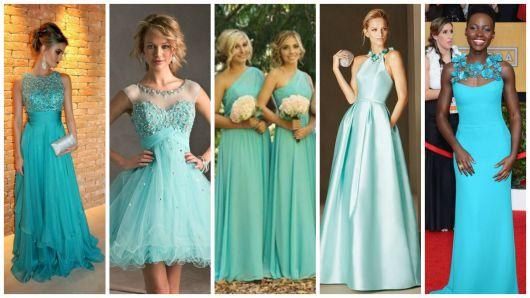 Sandalia para vestido azul turquesa