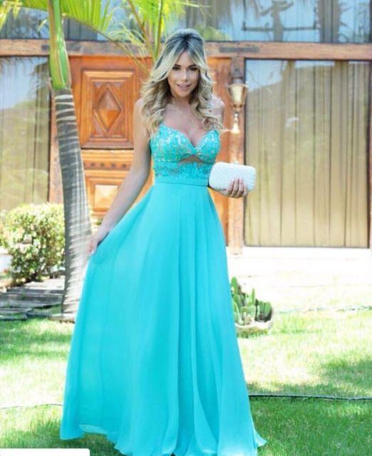 Maquiagem para madrinha de casamento vestido azul tiffany