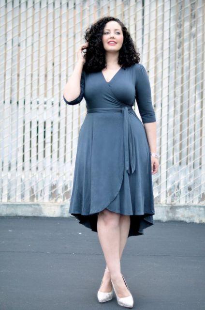 vestido transpassado plus size