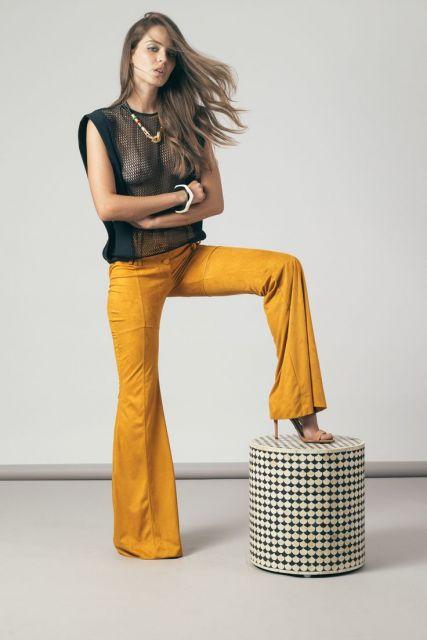 estilos de calça flare calça mostarda feminina
