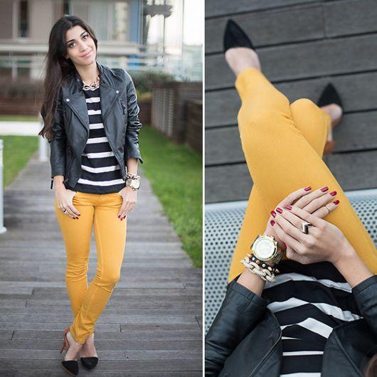 calça mostarda feminina com cintura alta