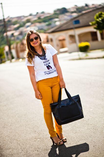 dicas de moda de calça mostarda feminina