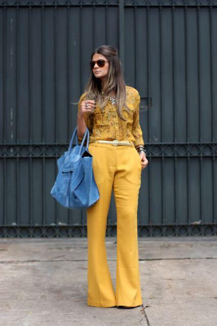 calça mostarda feminina modelo flare