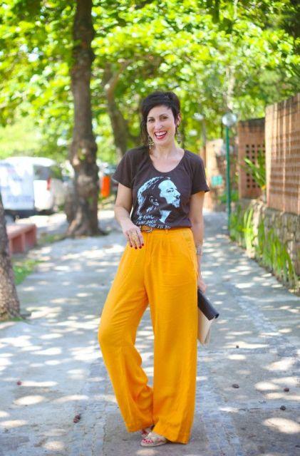 calça mostarda feminina pantalona