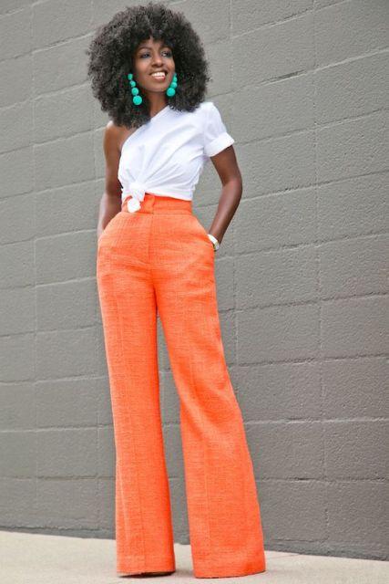 look calça laranja