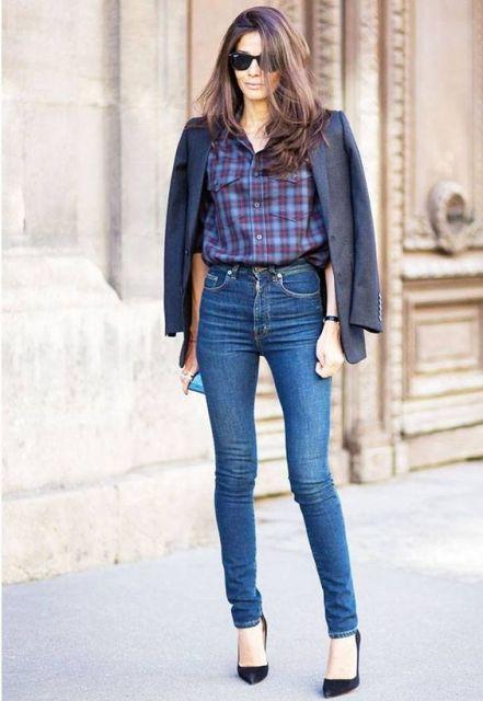 calça skinny cintura alta