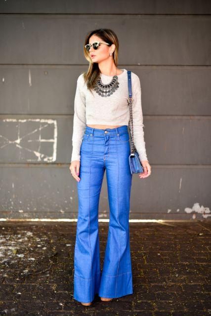 look calça jeans flare