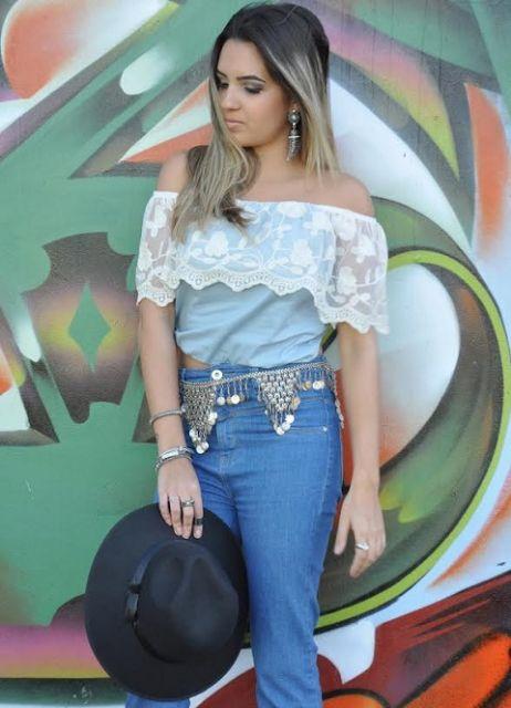 blusa ciganinha renda