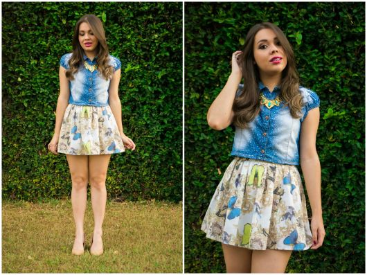 look saia rodada estampada
