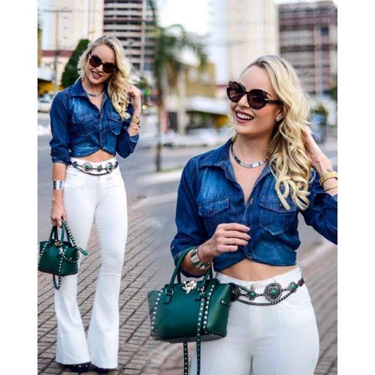 calça branca cintura alta