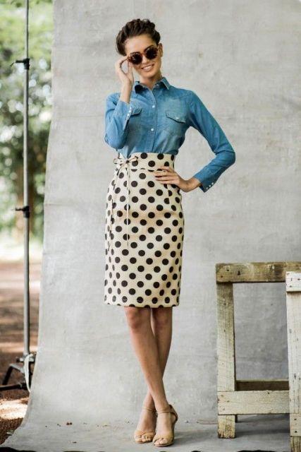 moda de saia de bolinhas