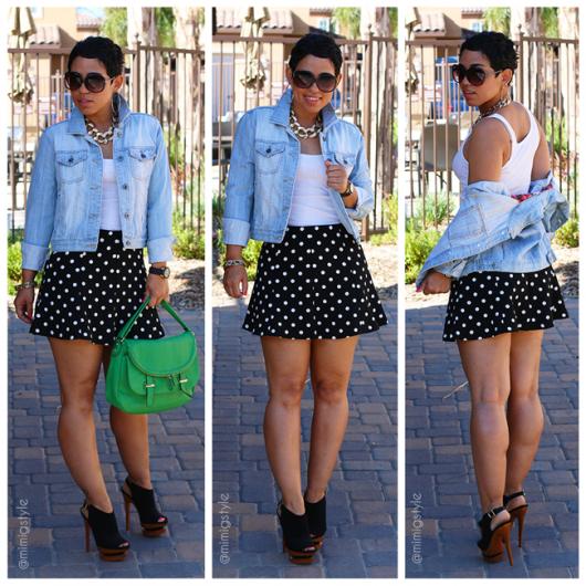 vestindo saia de bolinhas