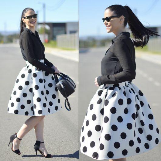 saia de bolinhas moda vintage