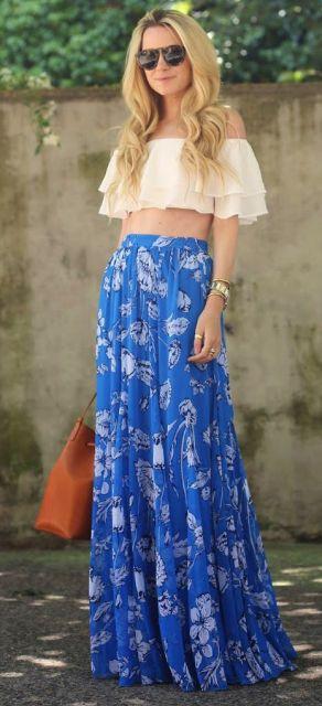 saia longa azul