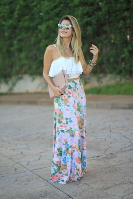 look com saia longa floral