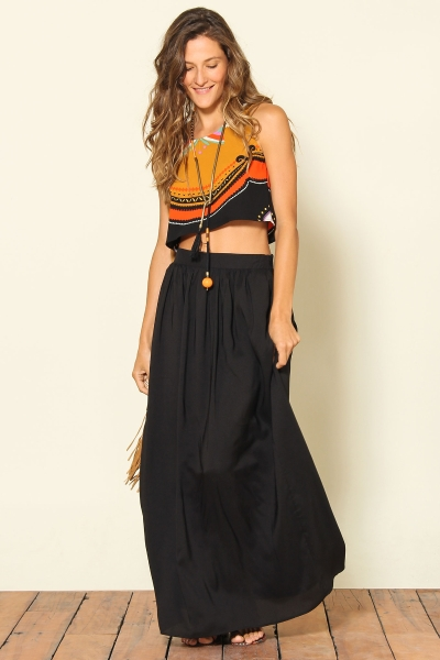 saia longa de viscose com blusa tribal