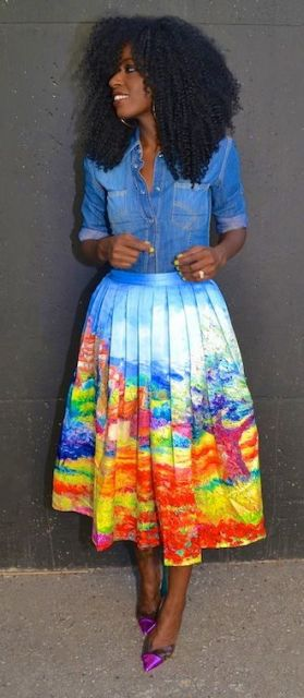 look saia plissada colorida