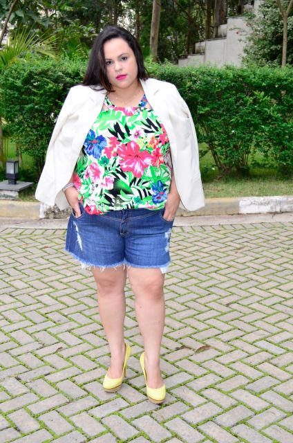 look short com blazer plus size