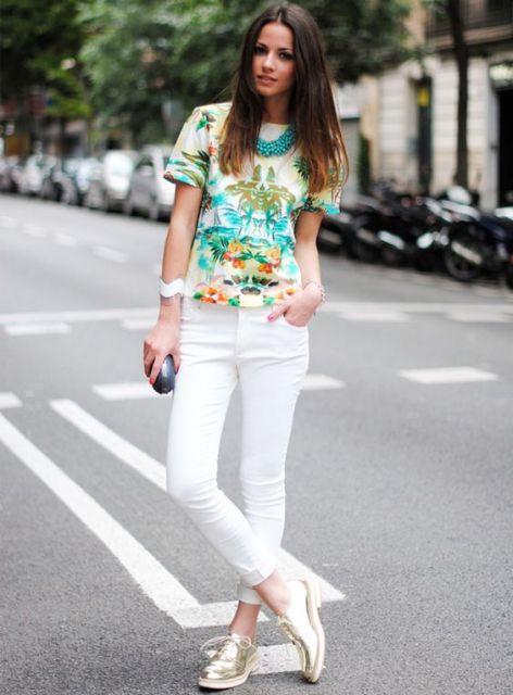 look com calça branca