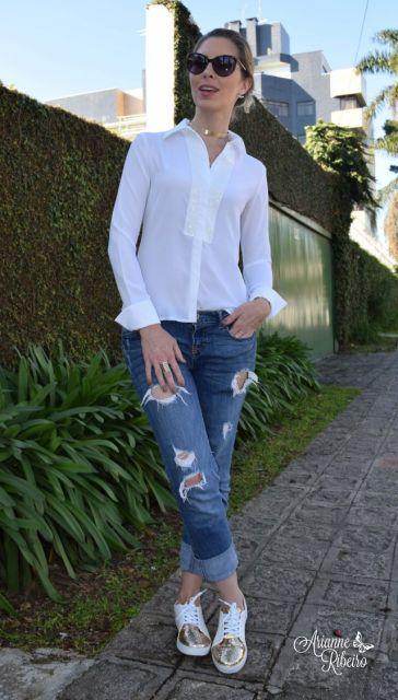 look calça com camisa branca
