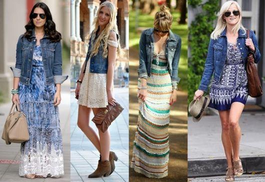 Jaqueta jeans com vestido florido
