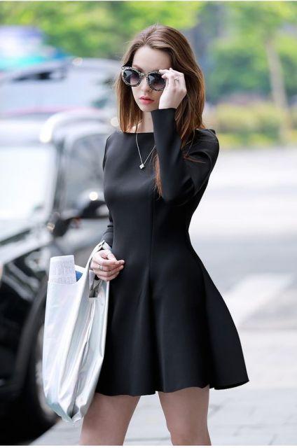 Vestidos curtos rodados de manga