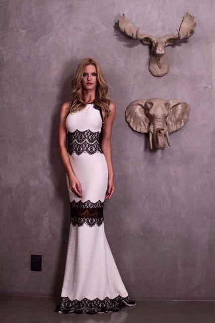 vestido branco e preto de bandagem