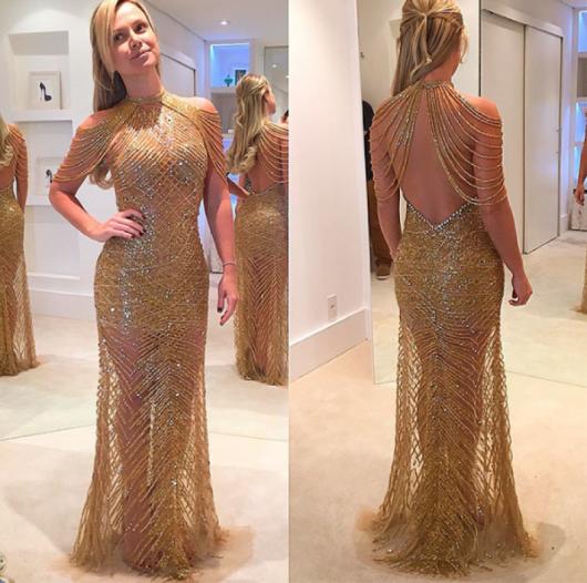 vestido de festa dourado saia longa