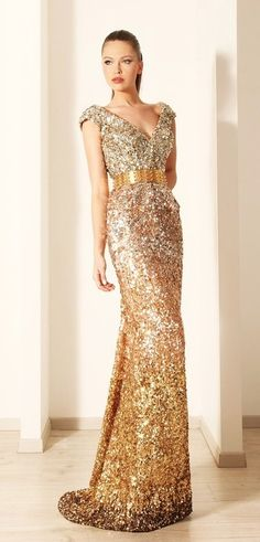 vestido de festa dourado modelo sereia