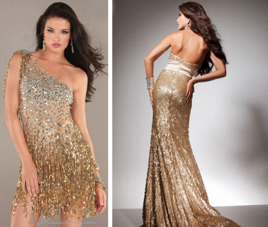 looks com vestido de festa dourado