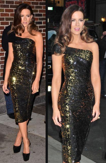 modelos de vestido de festa dourado com preto