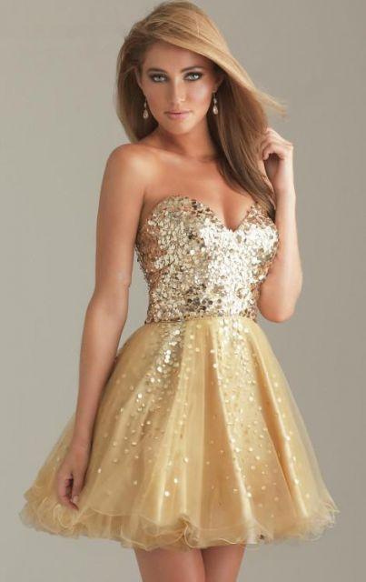 vestido de festa dourado curtinho