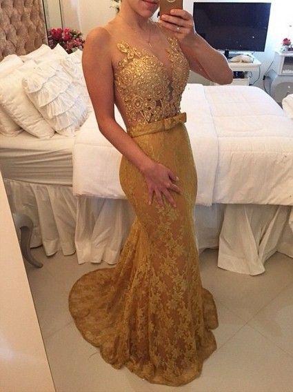 vestido de festa dourado calda sereia