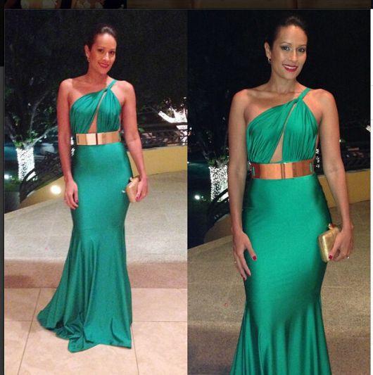 Vestido de formatura curto verde esmeralda