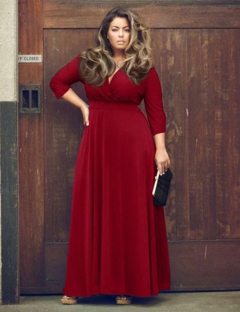 vestido marsala plus size