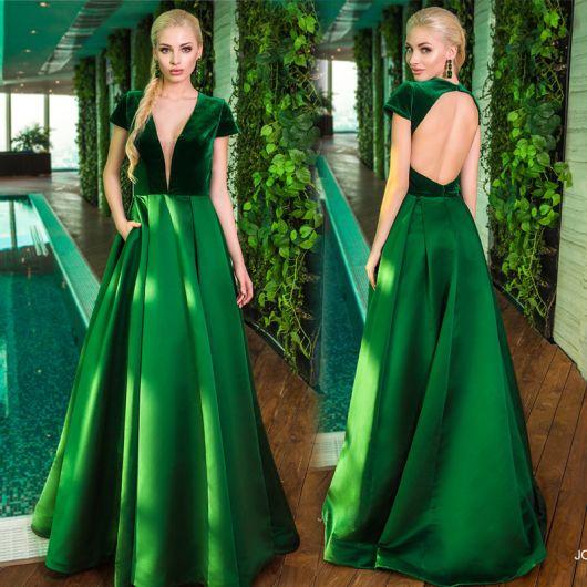 Vestido de festa curto verde bandeira