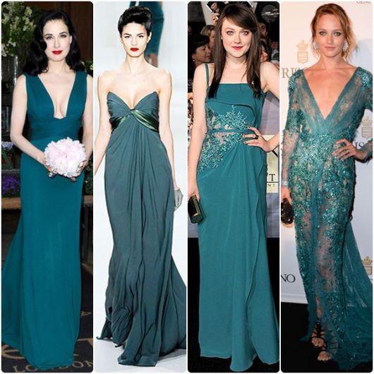 Cor de vestido verde petroleo