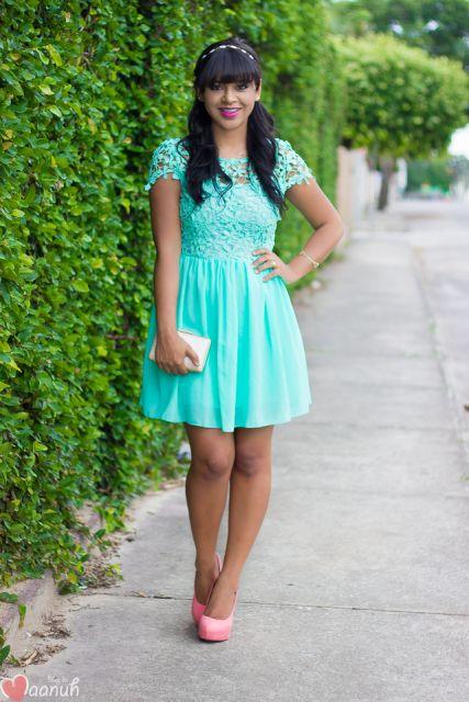 Vestido verde agua curto social