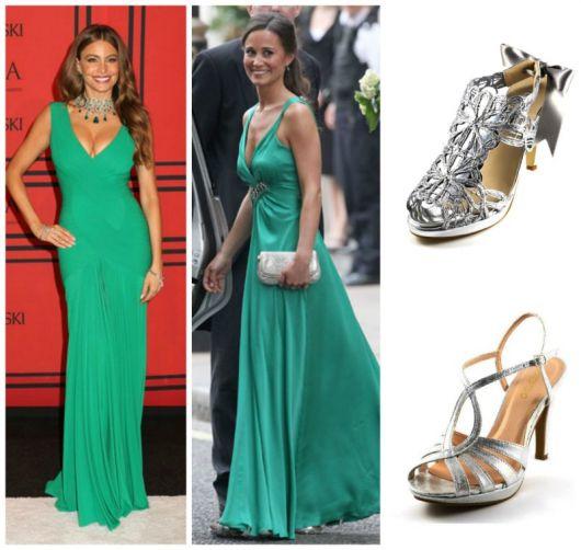 Vestido verde longo sapato