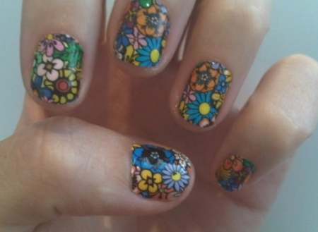 unhas-curtas-decoradas-floral